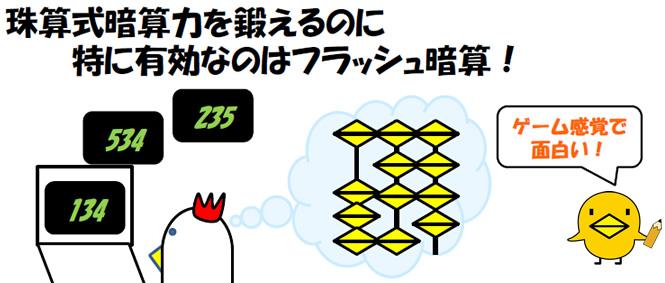 珠算式暗算力を鍛えるのに、特に有効なのはフラッシュ暗算! ゲーム感覚で面白い!
